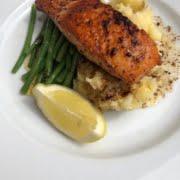 PAN FRIED SALMON served with crushed new potatoes and fine green beans